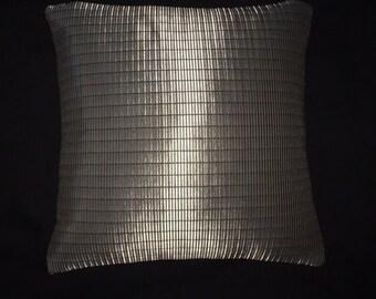 "Maharam fabric accent throw Pillow cushion -  17"" X 17"" silver metallic"