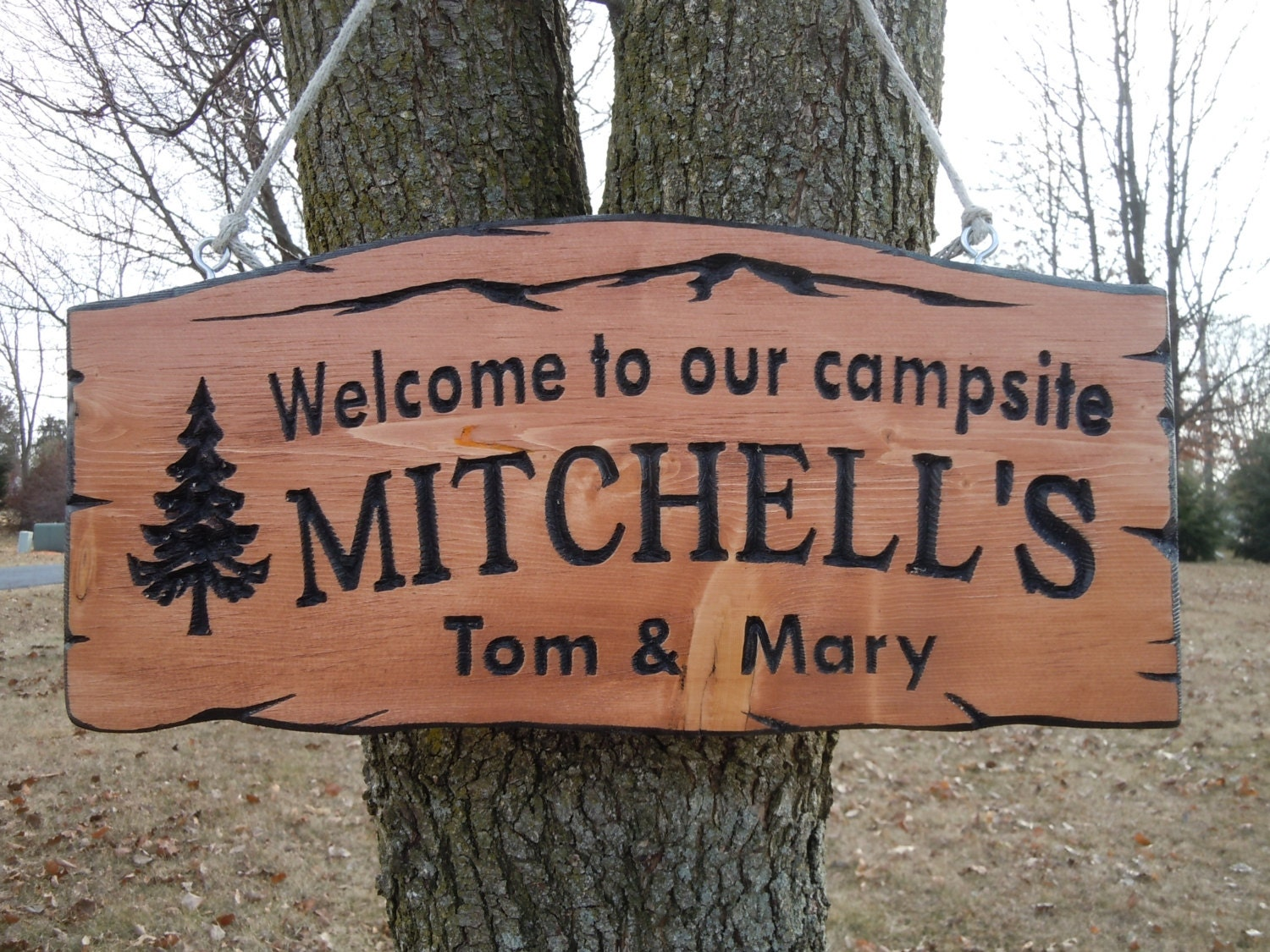 Last Name Family Campsite Sign Custom Made Wooden Welcome To