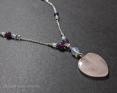 Pink Fluorite Heart Necklace with Amethyst and Opalite