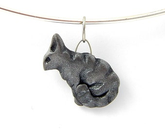 Sitting Cat Pendant, Choose One Pewter Color Textured Stylized Pendant, Hand-Sculpted Polymer Clay