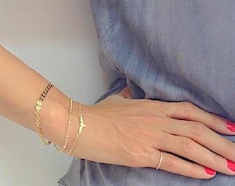 Delicate Gold Bird Bracelet, Gold Bracelet, Bird Bracelet, Layered Bracelet, Dainty Bracelet, Layering, Gold Plated Bracelet
