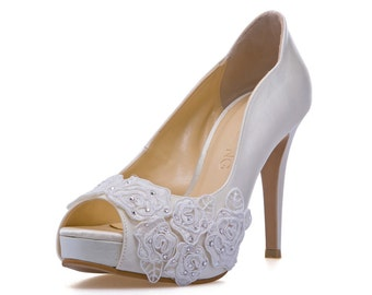 Rose Garden V2,Ivory White LaceAdorned Wedding Shoes,Ivory White Bridal Heels,Ivory White Lace Wedding Shoes, Ivory White Pearl Bridal Heels