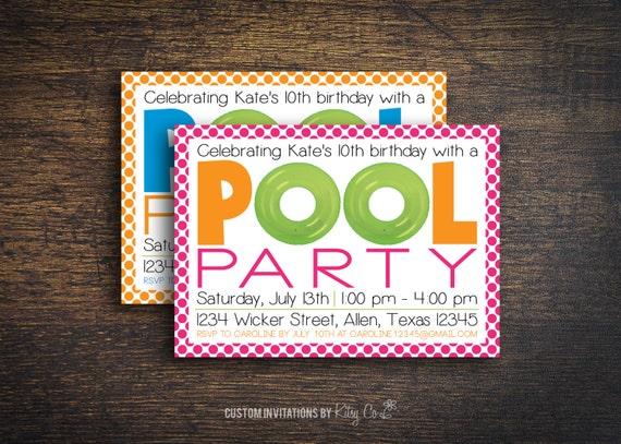 Pool Party Invitation   Kids Birthday