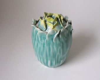 Porcelain blue green lidded jar / celadon ceramic container / flower design lidded vessel by echo of nature, yumiko goto