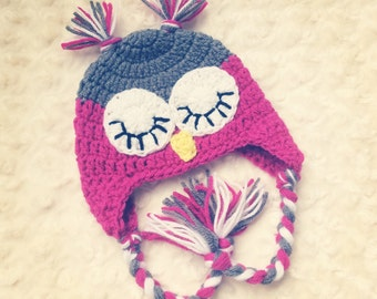 Crochet Sleepy Eyed Owl Hat - MADE TO ORDER - Any Color Combo