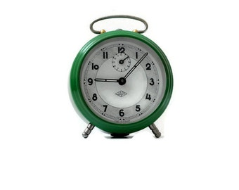 Upcycled green Japy alarm clock from France home decor