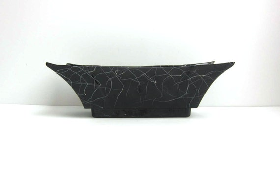 Mid Century Gilner Art Pottery Ceramic Black White Planter Pot