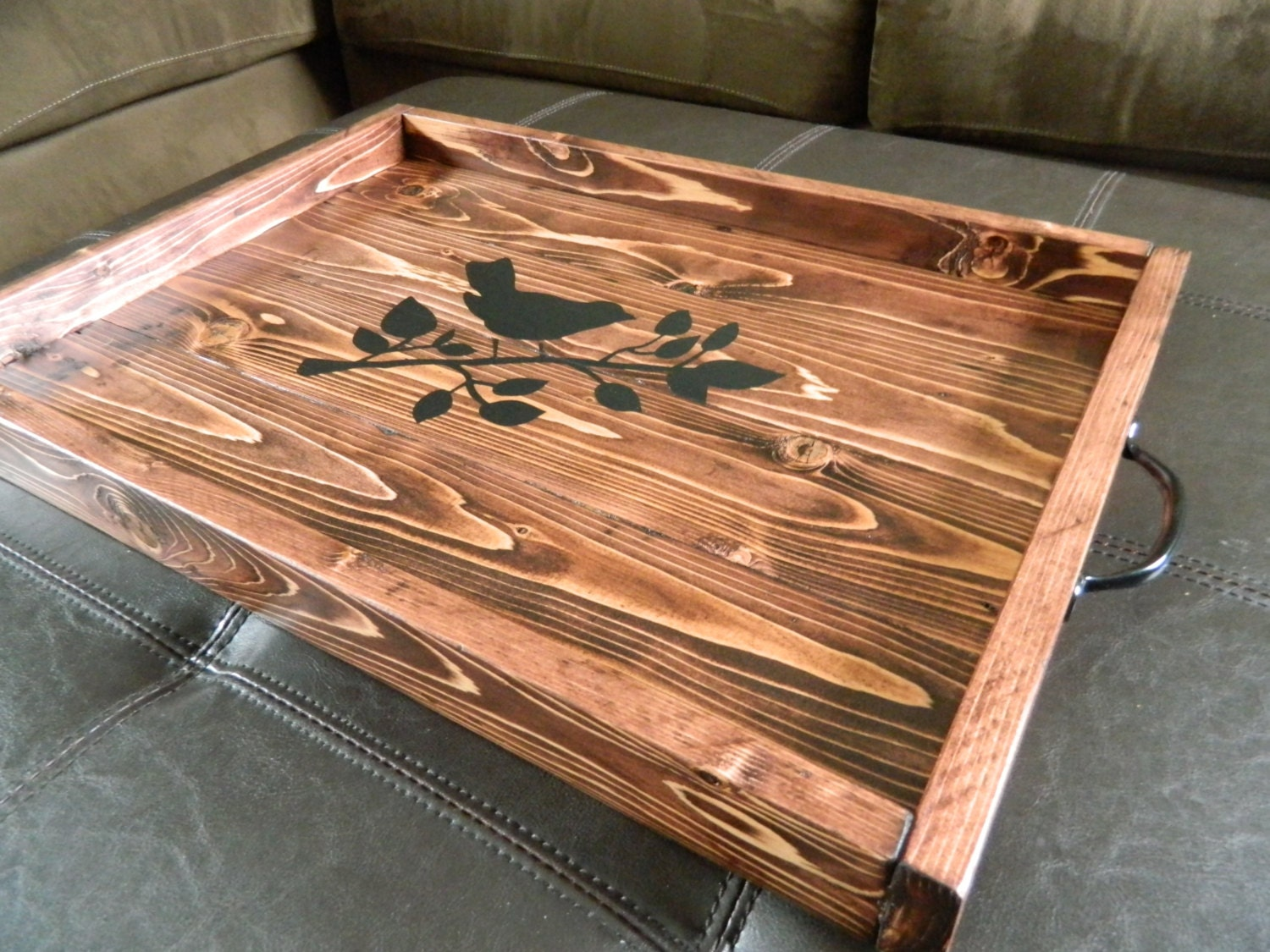 Reclaimed Wood Ottoman ~ Ottoman tray reclaimed wood bird stencil design black metal