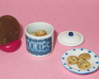 Miniature Dollhouse COOKIE JAR Chocolate Chip Cookie + Plate Cookies #1646