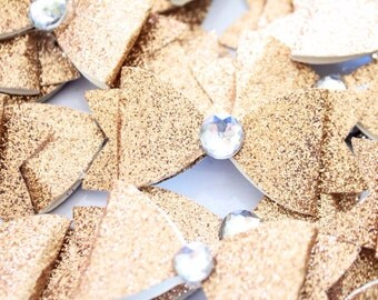 Glitter Bows/Cake Topper/Cupcake Topper -  10 pc * Jeweled Paper Bows - On A Stick