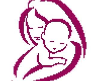 Crochet Graph Chart Pattern Baby Blanket Newborn Mother Baby Graph Chart