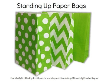 Set of 12, 24 Green - Chevron, Polka Dots, Plain (Solid)Paper Bag Flat Bottom Bags, Gift Bags, Party, Lolly,Favour, Wedding, Packaging, Loot