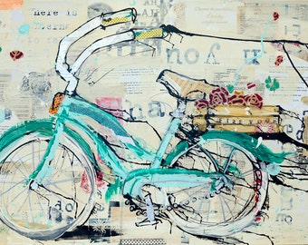 Sassy cruiser bike art print on canvas