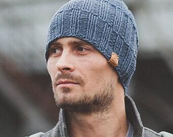 Men's Knit Hat / Navy Hat / Knitted Beanie / Wool Merino Hat