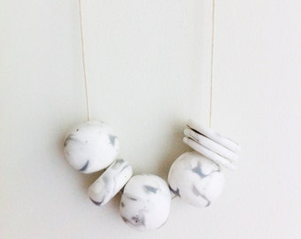 Ivory Marble - Handmade Polymer clay Necklace, 7 bead, adjustable cream waxed cord