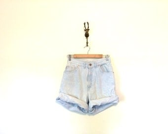 High Waisted Vintage 90s Shorts / Bleached Out Light Wash Denim Shorts