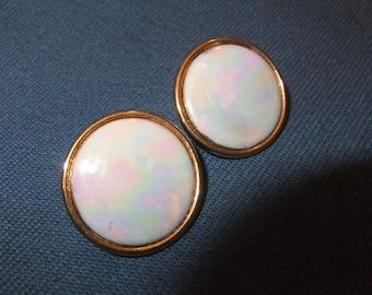Large Round Pearlized White Enamel Earrings, Vintage
