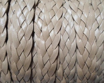 """Per 8""""  10mm Flat Leather Cord, Beige Soft Braided Leather"""