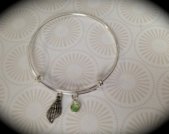 Sea Shell Personalized Birthstone Adjustable Bangle Bracelet
