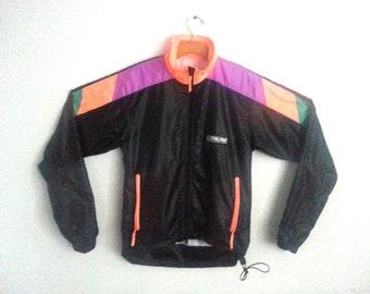 Vintage Neon Windbreaker Colorblock Jacket Pearl Izumi Small