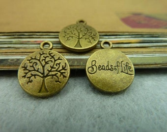 50PCS 12x15mm Antique Bronze Life Tree Charms Pendants Jewelry Findings AC5604