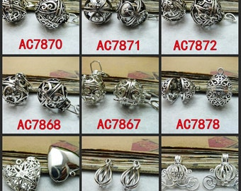 White Gold Silver Wishing Box Charm Pendant Jewelry Findings