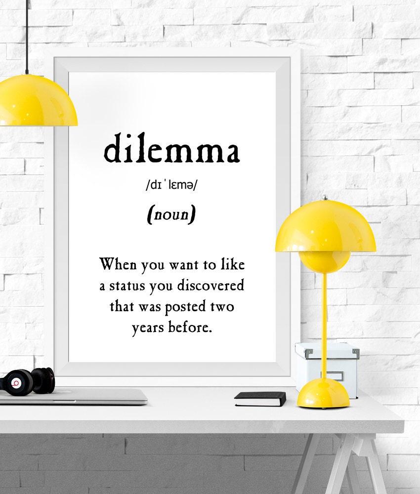 Dilemma Definition Vocabulary Print Printable Poster Black