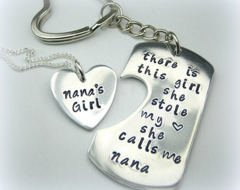 Personalized Handstamped NANA granddaughter keychain necklace - There is this girl she calls me grandma nana