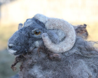 Needle felted sheep.Needle felted ram. Needle felted soft sculpture. Ready to ship.