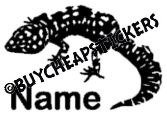 Leopard Gecko with Name Decal/Sticker 4X3