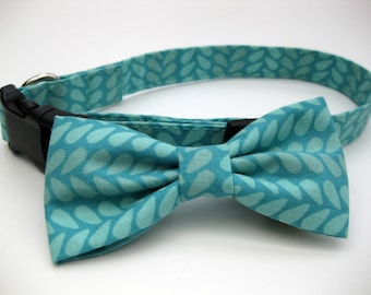 Dog Bow Tie, Teal,  Removable and Adjustable, Bow Tie for Dogs and Weddings, Made to Order in Your Choice of Size