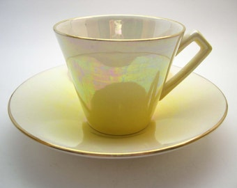 Royal Winton Tea Cup and Saucer, Bright Yellow to Ivory tea cup and saucer set,  English Bone China, Yellow Lustre Tea cup and Saucer