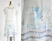 Vintage 1920's Sheer White Silk Flapper Dress with Incredible Bluebird and Deco Embroidery