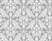 """Gray Damask Fabric - White on Gray / Grey by Riley Blake """"Hollywood"""". Perfect for baby, nursery, curtains or quilts.100% cotton, C830-40"""