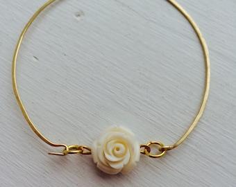 Single cream rose, 16K gold plated bracelet, #LLVGB1007