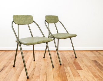 folding chairs, mid century chairs, retro chairs, matching pair of green Hamilton Cosco metal & vinyl folding chairs, mcm, retro, industrial
