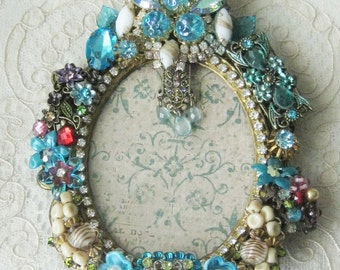 Jeweled Small Vintage Picture Frame - Artist One of a Kind