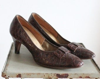 Big City Heels  * Vintage 1970s Brown Leather  Shoes * Size 7