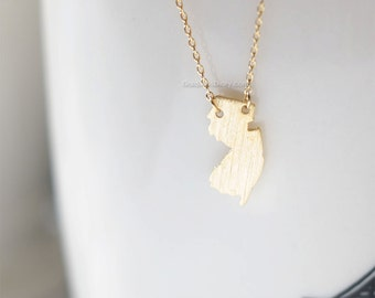 New Jersey state Necklace in Gold, NJ state gold necklace
