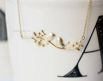 Gold Branch Necklace with delicate bird, dainty branch bird necklace, bridesmaid gifts, wedding gifts, simple everyday necklace, gift idea