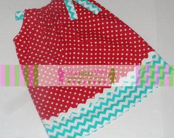 Dr Seuss Inspired Red Dot Aqua Turquoise Chevron Pillowcase Dress Infant 3 4 5 6 7 8