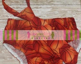 Basketball Sports Photo Prop 1st Birthday Set Diaper Cover Necktie Cake Smash Set