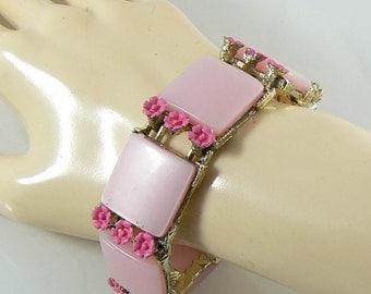 Vintage Pink Thermoset & Enamel Flower Bracelet  Unique vintage, antique, costume and estate jewelry.