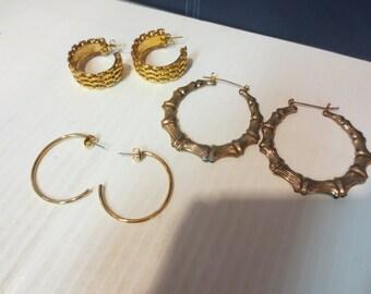 3 Pairs Of Pierced Hoop Earrings Gold Tone