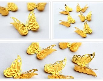 3D butterfly Wall art - Gold Wall decor - 3d butterflies - Layer Butterflies - Baby room wall art - gold butterfly