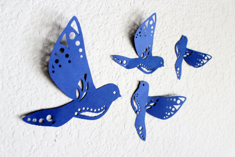 Paper Birds Wall Decor : Bird wall art blue decor decorations paper birds