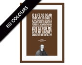 Patrick Henry - Give me Liberty Give me Death - Typographic Print - American History - Quote Art Print - Famous Speech - Gift for Historian