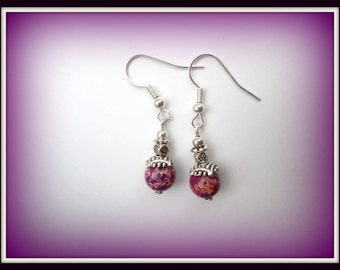 purple earrings - silver earrings