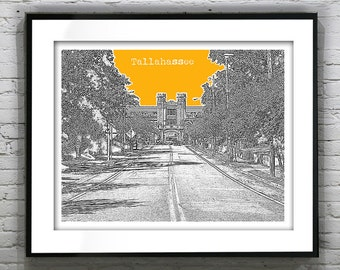 Tallahassee Florida City Skyline Poster Art Print Florida Landscape Version 2
