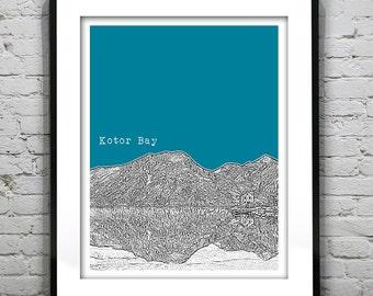 Kotor Bay Montenegro Poster Art Print Skyline